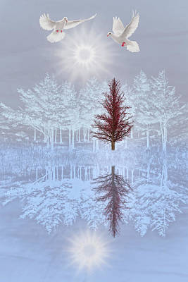 Digital Art - Doves In Winter by Debra and Dave Vanderlaan
