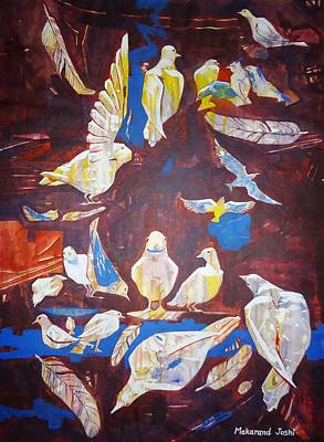 Maharashtra Painting - Doves Pigeons Birds And Feathers by Makarand Joshi