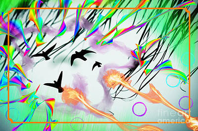Digital Art - Doves Wild by Donna Munro