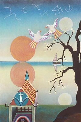 Doves With Sun Art Print by Sally Appleby