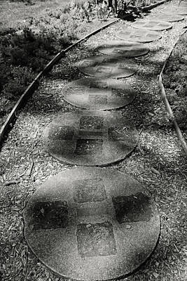 Photograph - Dow Gardens Paving Stone Path 2 Bw by Mary Bedy
