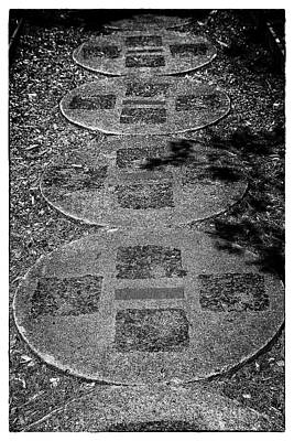 Photograph - Dow Gardens Paving Stone Path Bw  by Mary Bedy