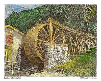 Painting - Dowlin Water Wheel by Jack Pumphrey