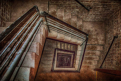 Down And Around - Staircase Art Print by Nikolyn McDonald