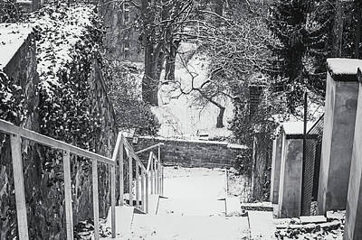Photograph - Down By Snowy Old Stairs. Black And White by Jenny Rainbow