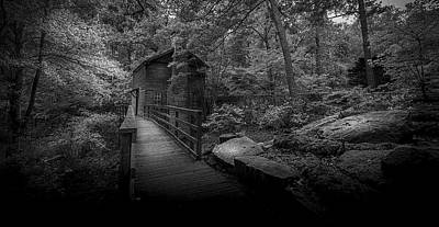 Woodland Trail Photograph - Down By The Mill-bw by Marvin Spates
