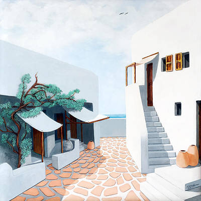Awning Painting - Down By The Sea In Mykonos, Original And Prints by Mary Grden Fine Art Oil Painter Baywood Gallery