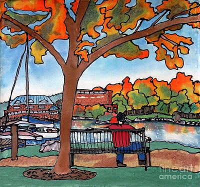 Down By The Waterfront On Silk Art Print by Linda Marcille