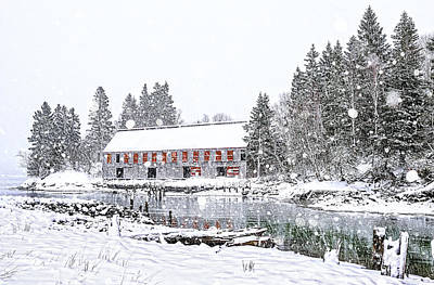 Photograph - Down East Maine Smokehouse Snowscape by Marty Saccone