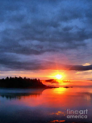 Maine Landscapes Digital Art - Down East Sunset Maine by Edward Fielding