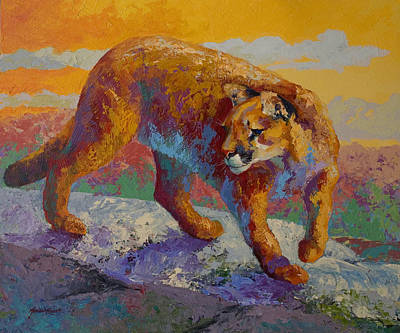Down Off The Ridge - Cougar Art Print by Marion Rose