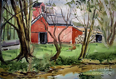 Painting - Down On Pipe Creek Plein Air Matted Glassed Framed by Charlie Spear