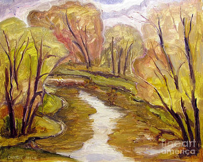 Sycamore Painting - Down River Blues Framed Plein Air by Charlie Spear
