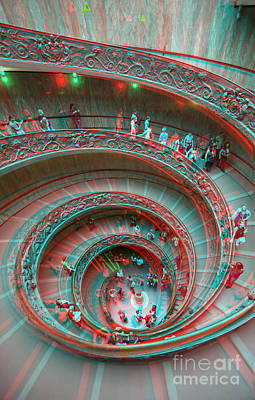 Down Stairs Anaglyph 3d Art Print by Stefano Senise