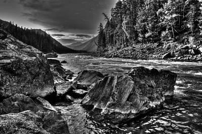 Photograph - Down Stream Bw by Michael Damiani