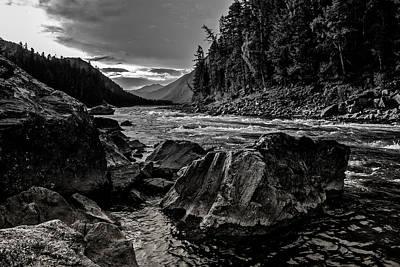 Photograph - Down Stream Bw2 by Michael Damiani