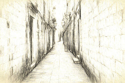 Walkway Digital Art - Down The Alley by Cathy Anderson