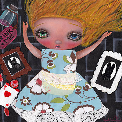 Alice In Wonderland Mixed Media - Down The  Rabbit Hole by  Abril Andrade Griffith