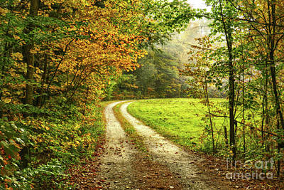 Typographic World Royalty Free Images - Down The Road Royalty-Free Image by Deborah Benoit