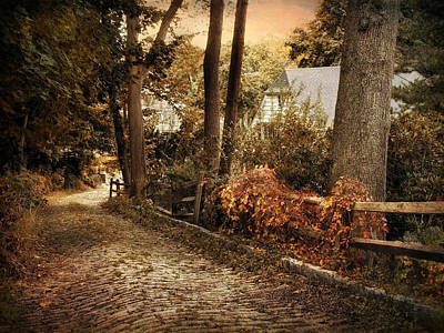 Cobblestone Streets Digital Art - Down The Rustic Road by Jessica Jenney