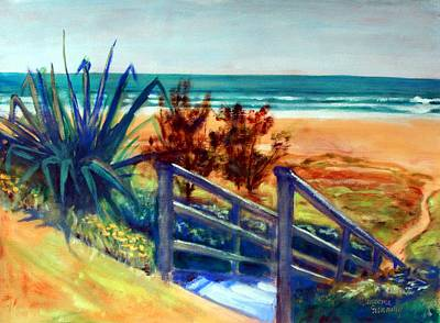 Painting - Down The Stairs To The Beach by Winsome Gunning