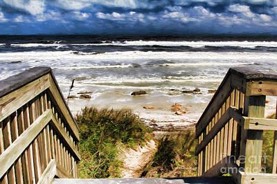 Moody Beach Painting - Down The Steps by Deborah Benoit