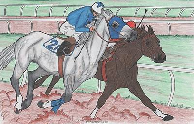 Racetrack Drawing - Down The Stretch by Karen Hesse