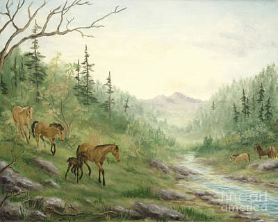 Wild Horses Painting - Down To Water by Cathy Cleveland
