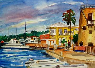 Abstract Oil Paintings Color Pattern And Texture - Down Town St Croix by Diane Elgin