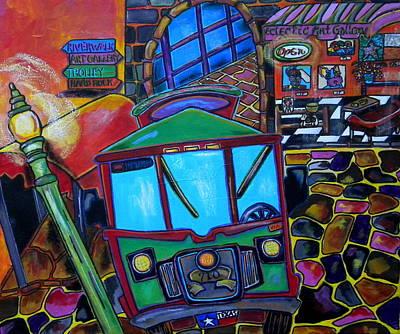 Trolley Painting - Down Town Trolley by Patti Schermerhorn