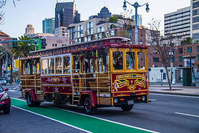 Down Town Trolly Car Art Print by Brian Williamson