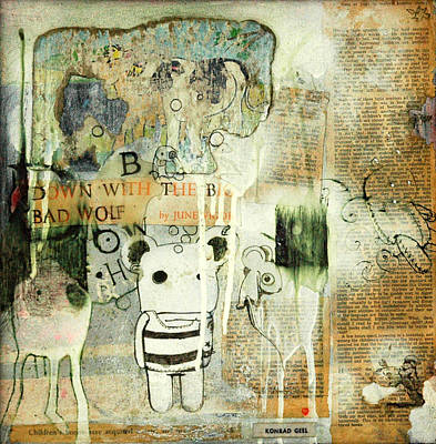 Smiling Mixed Media - Down With The Big Bad Wolf by Konrad Geel