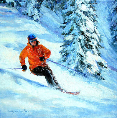 Skiing Fine Art Painting - Downhill Racing by DJ Lanzendorfer