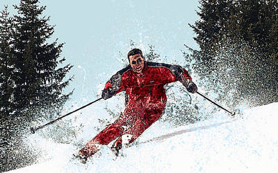 Slalom Painting - Downhill Skier On The Slopes by Elaine Plesser