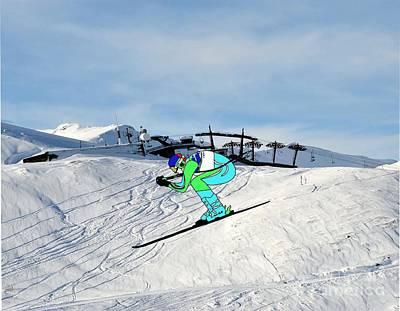 Ski-scape Photograph - Downhill Skier Scape by Priscilla Wolfe