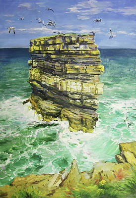 Mayo Painting - Downpatrick Head  by Conor McGuire