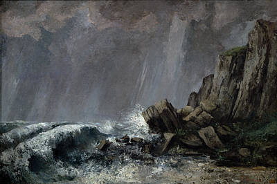 Inclement Painting - Downpour At Etretat  by Gustave Courbet