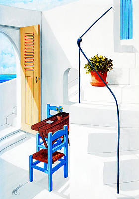 Vertical Painting - Downstairs In Santorini by Mary Grden's Baywood Gallery