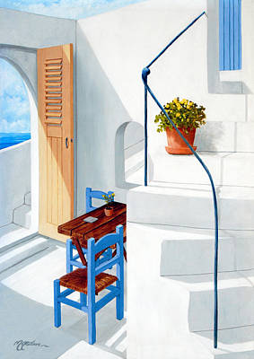 Rooftops Painting - Downstairs In Santorini - Prints Of Original Oil Painting by Mary Grden Fine Art Oil Painter Baywood Gallery