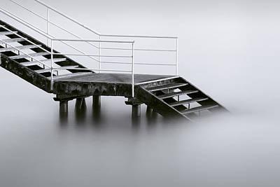 Stair Photograph - Downstairs by Inigo Barandiaran