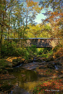 Downstream Autumn Elder Mill Covered Bridge Art Art Print by Reid Callaway