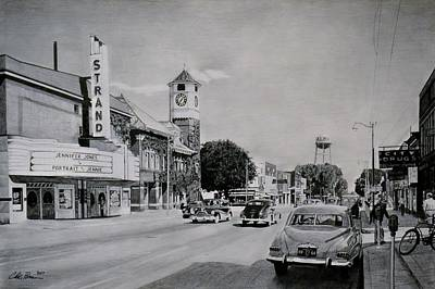 Drawing - Downtown Alma, Michigan, Circa 1949 by Chris Brown