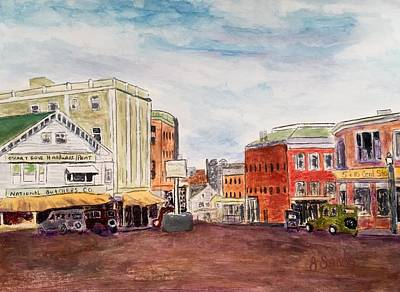Painting - Downtown Amesbury Ma Circa 1920 by Anne Sands