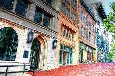 Downtown Asheville City Street Scene II Painted Art Print