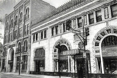 Photograph - Downtown Asheville City Street Scene In Charcoal Drawing by Carol Montoya