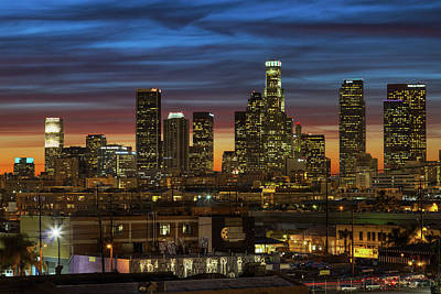 Illuminated Photograph - Downtown At Dusk by Shabdro Photo