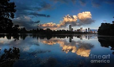 Owls - Downtown Austin Texas Skyline Sunset on Ladybird Lake  by Bruce Lemons