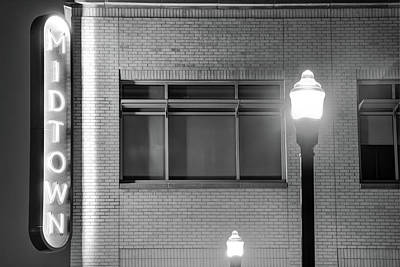 Photograph - Downtown Bentonville Architecture - Midtown Neon In Black And White by Gregory Ballos