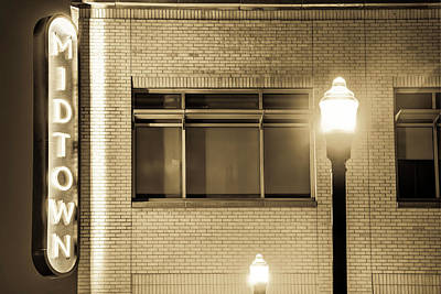 Photograph - Downtown Bentonville Architecture - Midtown Neon In Sepia by Gregory Ballos