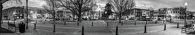 Photograph - Downtown Bentonville Arkansas Panoramic Skyline Black And White by Gregory Ballos